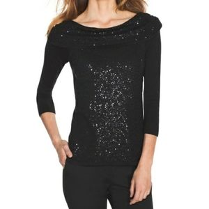 WHBM Black Sequined Cashmere Blend Top NWT Medium